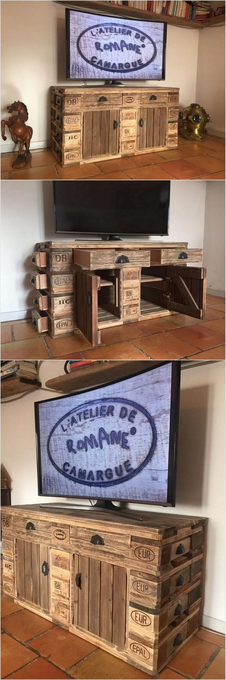You can even think about using the old wood pallets for the pallet media table or cabinet as well. This is amazingly one of the best ideas for your living room. You can place your LCD screen on top of the pallet media table. It is your choice to keep it simple or add it with some exciting ideas of color paint. You can add it with drawers on front side and over left and right sides.