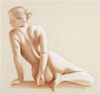 Juliette, sitzender weiblicher Rückenakt by Marie-Paule Deville-Chabrolle