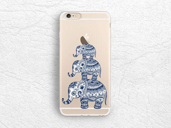Aztec Elephant transparent soft rubber case for iPhone 6 5s, iPhone 6 plus, iPhone 5C, Samsung S6, ultra slim Tribal clear case - A5