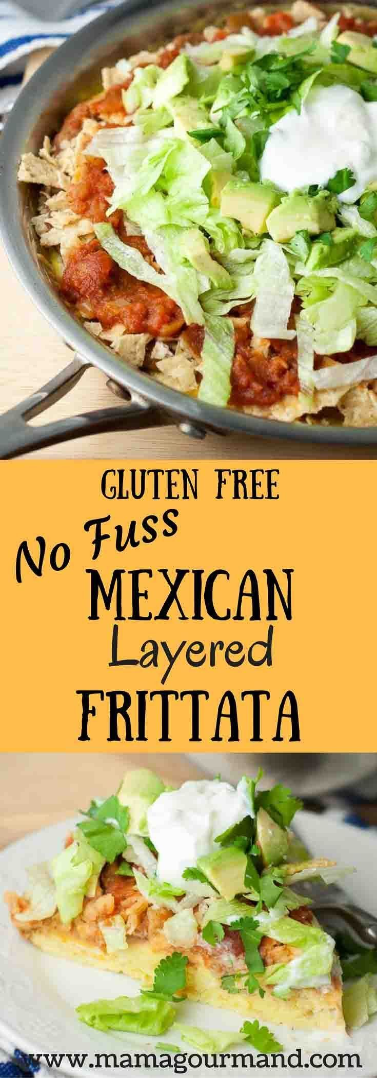 Mexican Layered Frittata uses a fluffy, baked egg crust to layer melted cheese, refried beans, bright salsa, and crisp tortillas with all the fixings. http://www.mamagourmand.com via @mamagourmand