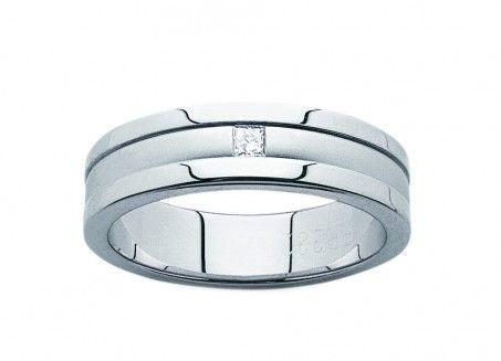 18ct White Gold Diamond Set Gentleman's Wedder
