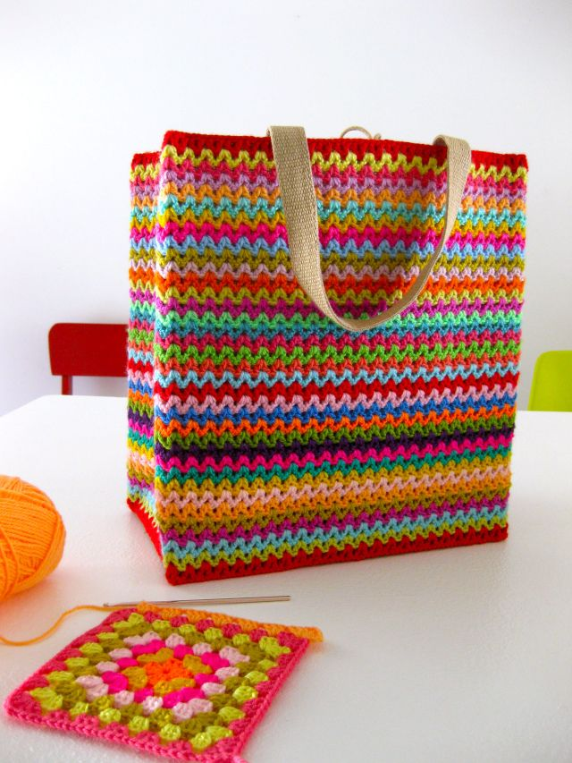 This colourful striped tote is simply a tube of crochet attached to the outside of a Coles hessian shopping tote. Sarah London explains how she does it.
