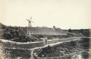 Picture a Day: The Jerusalem Windmill Will Soon Turn and Mill Again. Built in 1857, It Operated for less than 20 Years - View of building and windmill (Mishkenot Shaananim) built by Sir Moses Montefiore