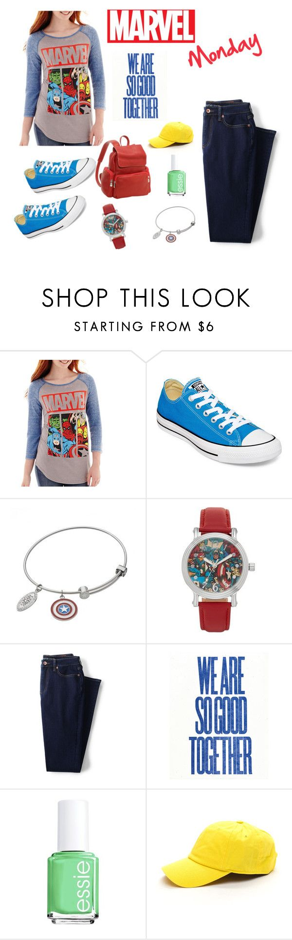 """""""Marvel Monday"""" by hannahbanana-218 ❤ liked on Polyvore featuring Converse, Marvel, Lands' End, Essie, Le Donne, casual, red, classy and marvel"""