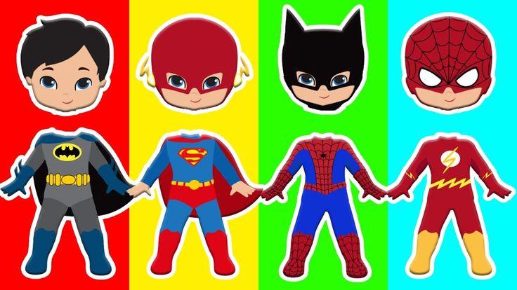 Wrong Heads Spiderman Batman Superman The Flash Finger Family Nursery Co...