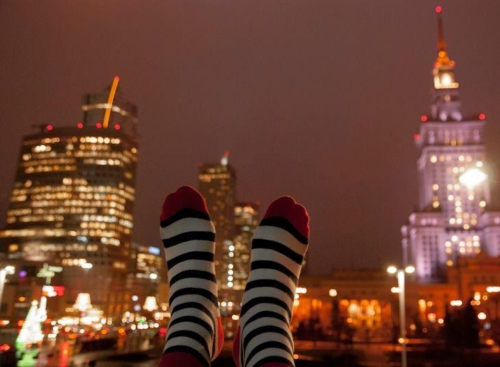 Kabak socks & Warsaw by night  #kabaksocks #skarpetki #socks #madeinpoland #socksoftheday #pkin #warsaw #warszawa #night #stripes