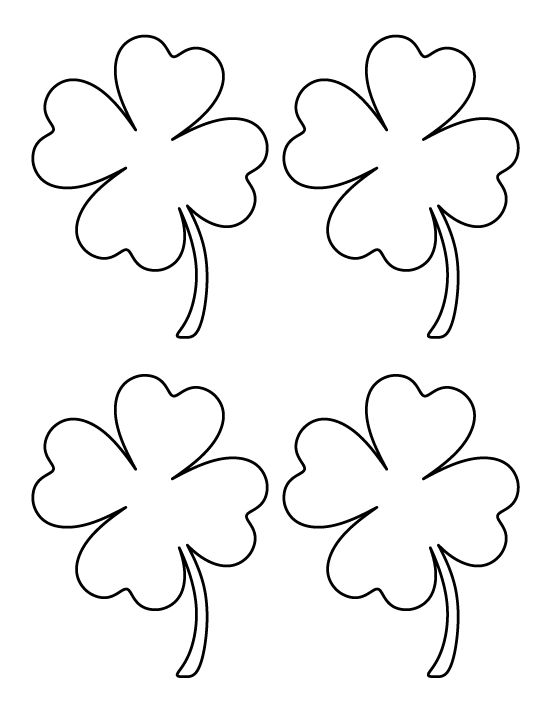 Printable medium four leaf clover pattern. Use the pattern for crafts, creating stencils, scrapbooking, and more. Free PDF template to download and print at http://patternuniverse.com/download/medium-four-leaf-clover-pattern/.