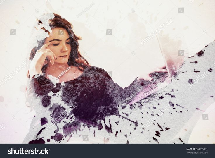 Thoughtful business woman lying with a laptop under watercolor splatters. Toned image. Double exposure