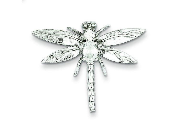 Sterling Silver Cubic Zirconia Dragonfly Pendant Necklace - Chain Included
