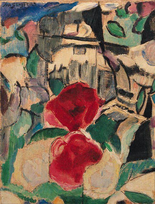 Flowers in a landscape, Jan Sluijters. Dutch (1881 - 1957)