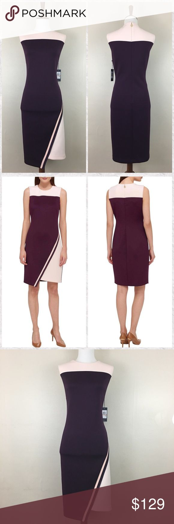 """Tommy Hilfiger Crew Neck Weight Scuba Sheath Dress *Condition: NWT *Neckline: Crew  *Sleeve Style: Sleeveless  *Asymmetrical hem  *Silhouette: Sheath  *Closure: Back zip with Logo pull *Pockets: No  *Shell: 91% Polyester 9% Spandex  *Lining: No *Care: Dry clean *Measurements are approx & taken lying flat *Bust: 38"""" *Waist: 34"""" *Hip: 42"""" *Shoulder to Hem: 39"""" *Stored in non-smoking pet free home Tommy Hilfiger Dresses"""