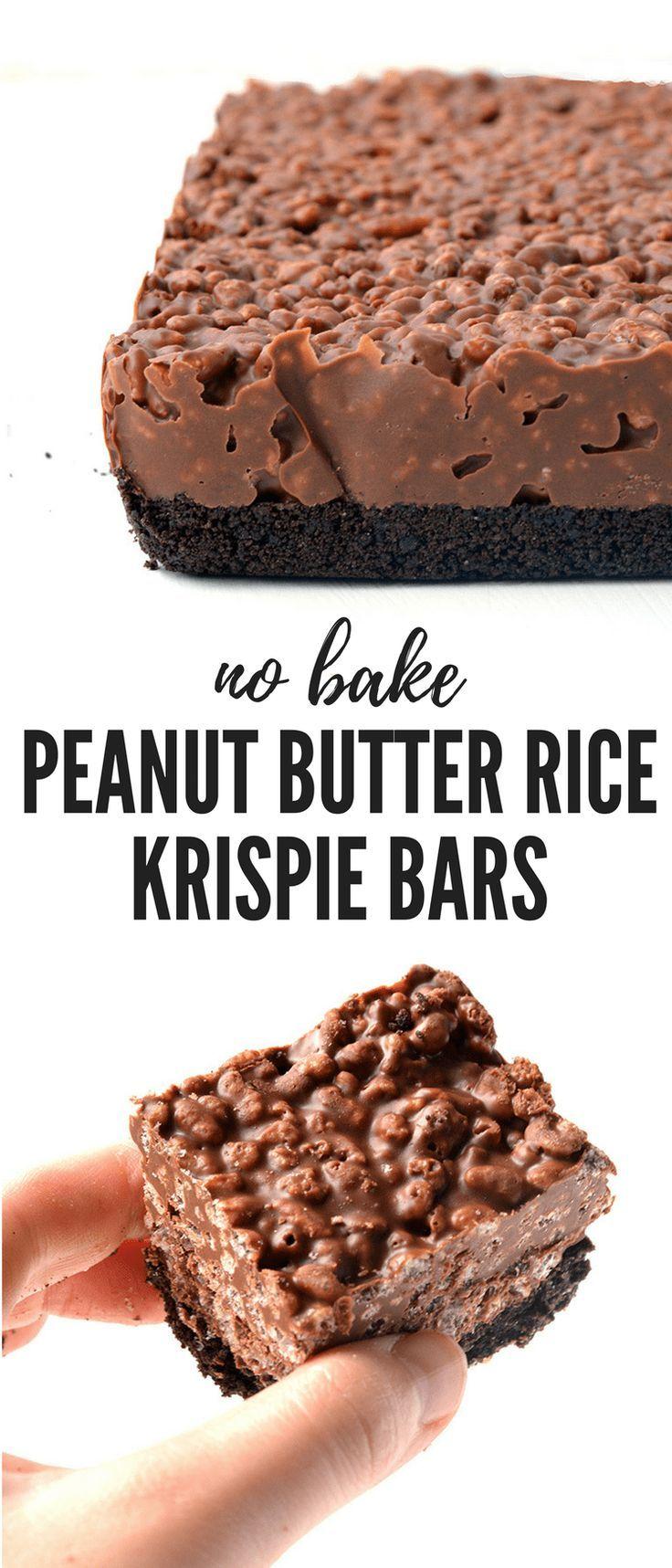 Erstaunlich, keine Erdnussbutter Reis Krispie Bars mit einer Oreo-Kruste backen. Sie brauchen nur