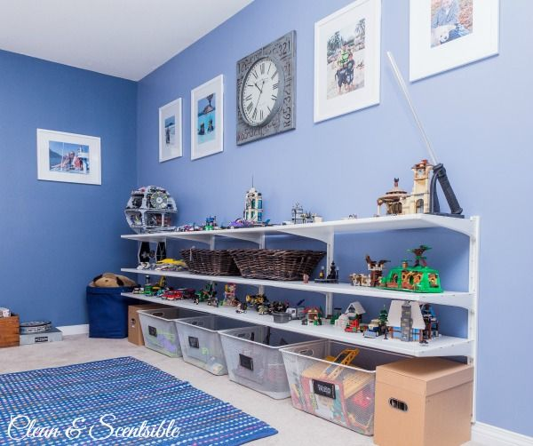 Floating shelves: LEGO STORAGE!!  Great inexpensive storage unit for boys' bedroom.