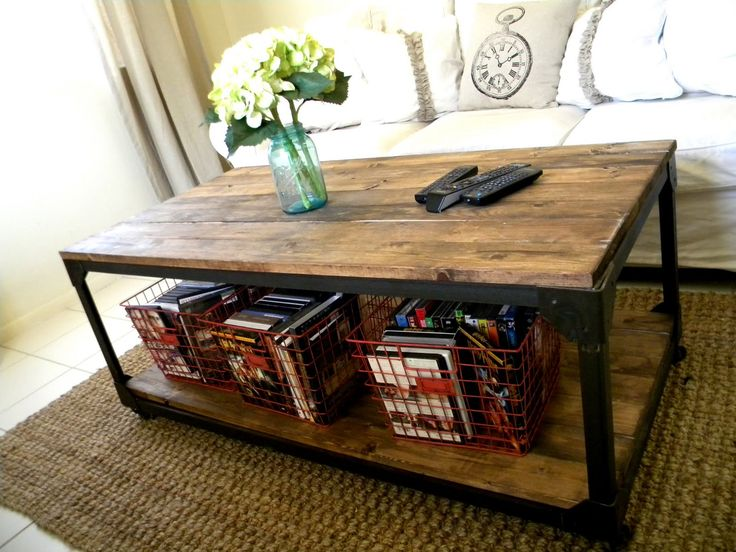 Industrial coffee table - it will actually hold all my coffee table books!!