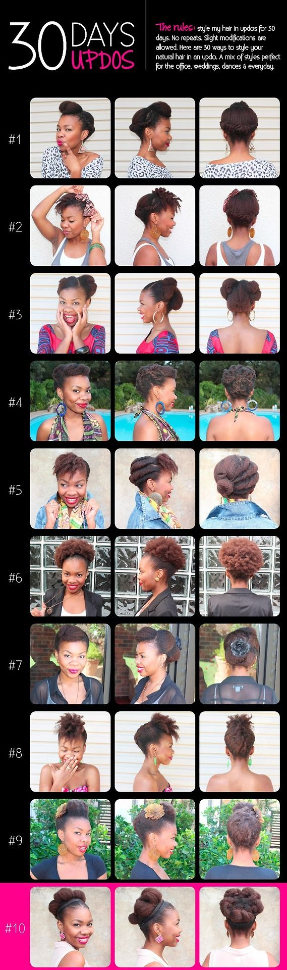 30 Protective Styles for Natural Hair Part 1  Protective Styles are a great way to prevent breakage in our natural hair. Doing protective styles are a great way to tuck those ends away and retain length. Check out MyFroandITV for video tutorials.  Source: myfroandi.com Which style is your favorite???