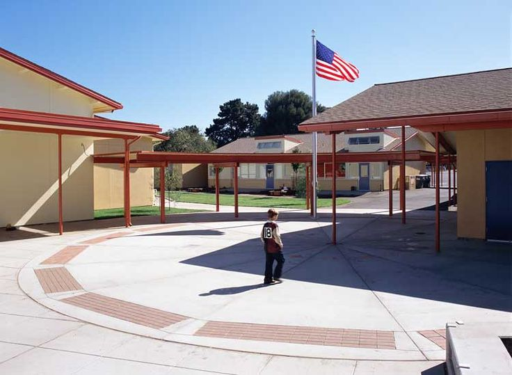 Front school buildings at Almond Elementary in Los Altos on Almond Avenue.