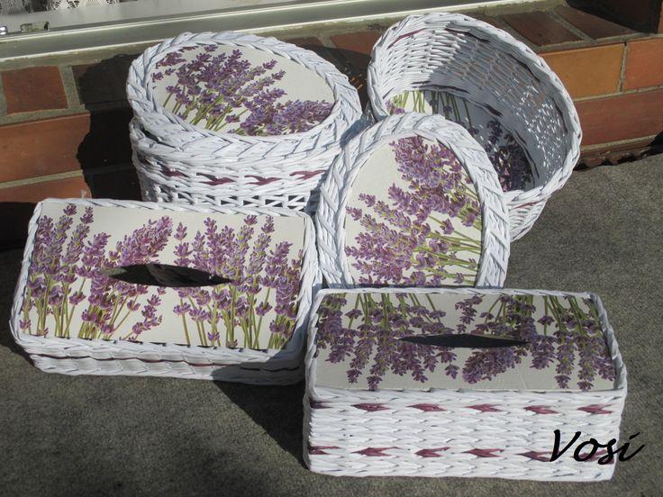 levandulové košíky z papíru