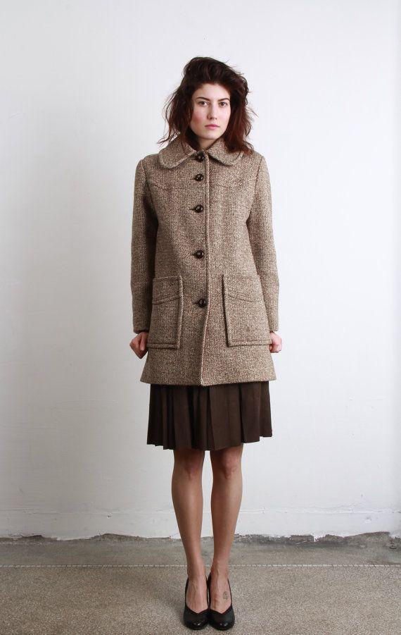 Vintage Tweed Coat . Wool Jacket . Winter Wear . Coffee with Cream on Etsy, 760:08kr