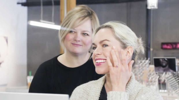 Sara Lindsay works with a client at The Makeup Store in Regina.