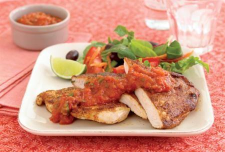 Stekt kyckling med tomatrelish