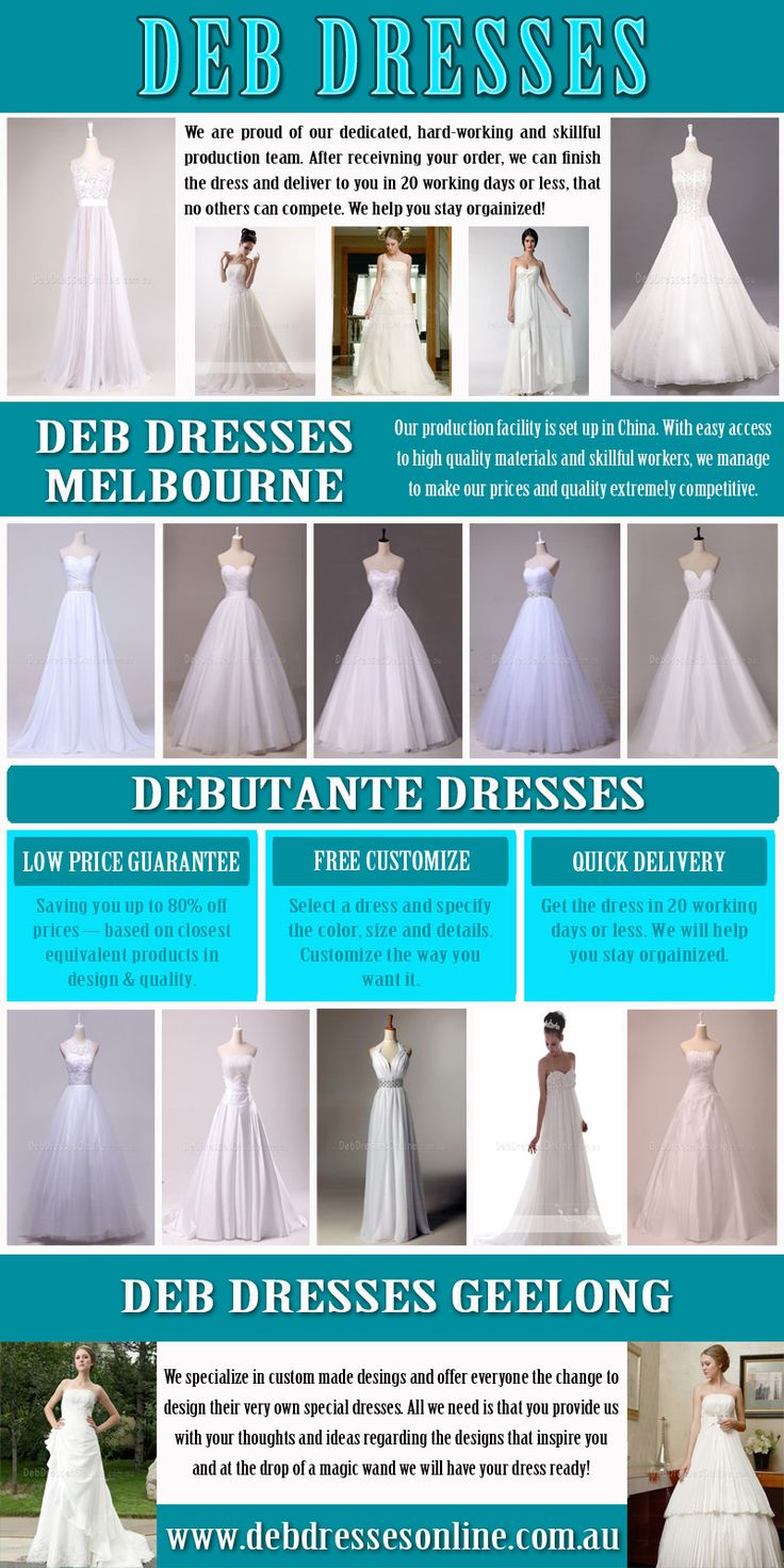 Browse this site http://www.debdressesonline.com.au/deb-dresses-melbourne/ for more information on Deb Dresses. By researching and carefully choosing a cheap wedding dress, you can walk down the aisle in style without breaking the bank! Shopping for the perfect inexpensive Deb Dresses is a time-consuming process. So start early, at least eight to 12 months ahead of time.