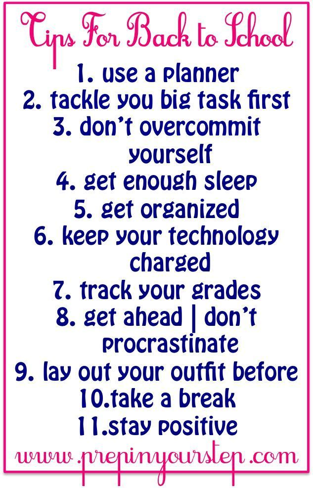 Back To School Tips- Dorothy makes some great reminders about how to stay on top of your game with school in session!