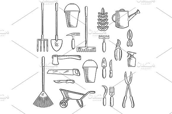 Gardening hand tools sketches by Vector Tradition SM on @creativemarket
