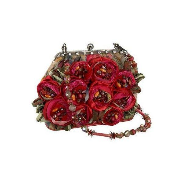 Mary Frances Run for the Roses Bag Pink Green Red NEW Velvet Handbag... ❤ liked on Polyvore