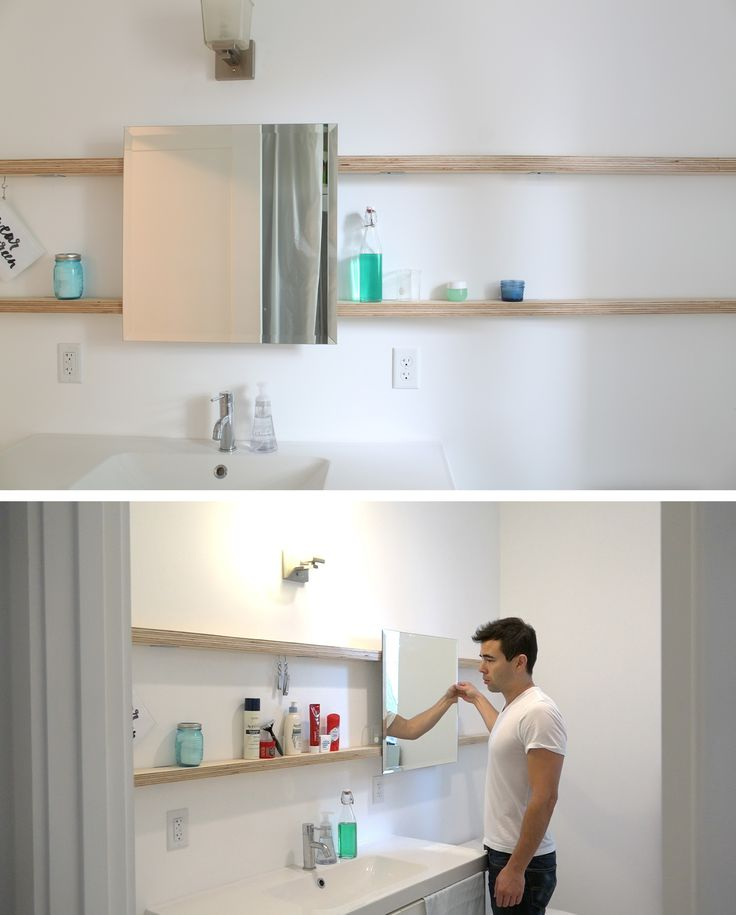 You can make your own sliding bathroom mirror that goes across your whole wall. Check out the website for the full material list + instructions: http://www.homemade-modern.com/ep94-diy-sliding-bathroom-mirror/