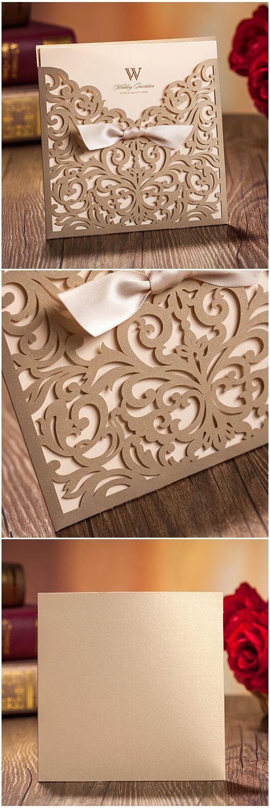 Elegant Metallic Gold Laser Cut Pocket Wedding Invitations with Free RSVP Cards @elegantwinvites