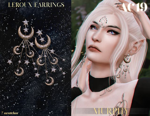 Leroux Earrings [AC 2019 - Day 10] - MURPHY x BRADFORD x NOCTIS   Sims 4 collections. Sims 4 mods clothes. Sims 4