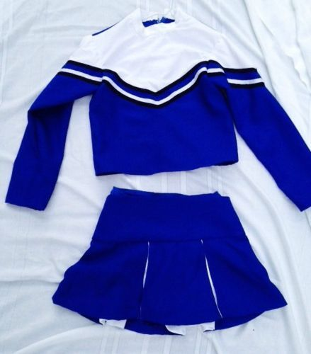 3f699bba3a8101 Girls Cheerleader Costume Outfit Long Sleeved Blue White Crop Top Skirt 10