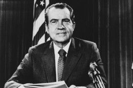 President Nixon poses after delivering a nationwide television address loaded with economic news on Aug.15.1971..