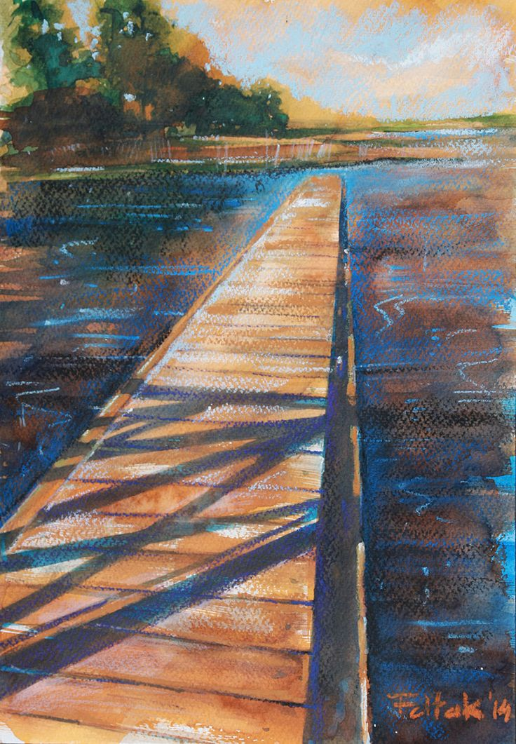 Icy pier in Augustow, watercolor + oil pastel, 33x23 cm, 2014