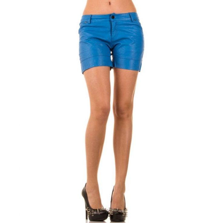 Korte zomer broek dames wetlook blauw  XS t/m L €11,99