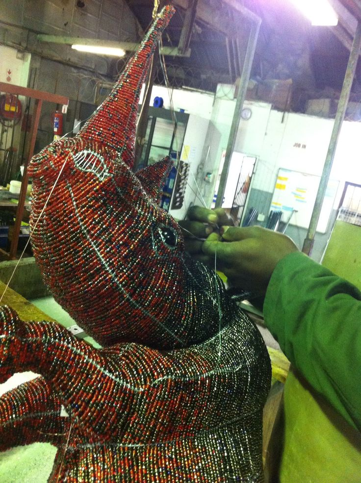 Adult Locked Horn Rhino being wired for nickel plating. www.lockedhornproject.com