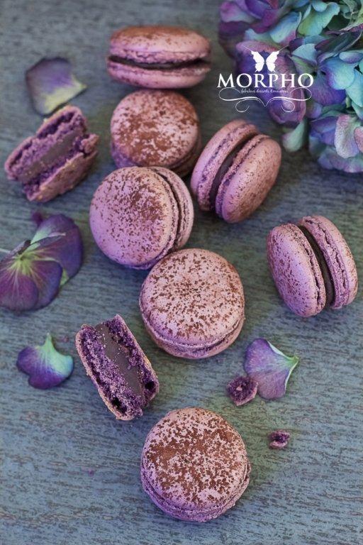 chocolate violets macarons
