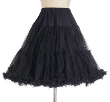 100% polyester and washable at 40*  Length is 65 cm  3 tier petticoat.  Ruffle edge on hem.  Elasticated waistband-very stretchy!  2 layers on each tier.  Very full.  Fits our 50's style dresses.  The petticoat is adjustable at the waist, and can be made smaller.  It has a button on the elastic waistband for adjustment.  http://www.coxandbaloney.com/petticoats/