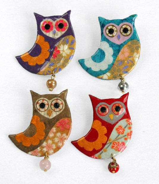 Shark Alley owl brooches