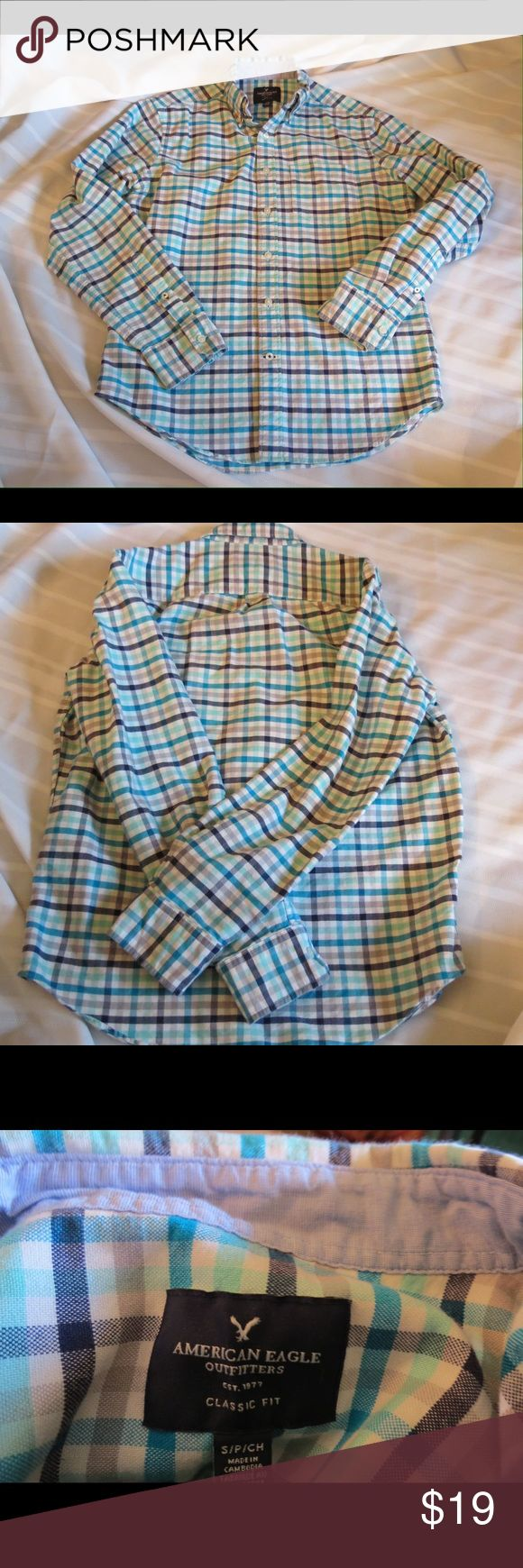 AE Outfitters 100% Cotton Button Down Plaid American Eagle Outfitters 100% Cotton Button Down Plaid Size S  Size S   Gently used excellent condition! All of my items are Guaranteed 100% Genuine I do not sell FAKES of any kind No Trades (C1018) American Eagle Outfitters Shirts Casual Button Down Shirts