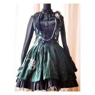 Bandage classic Lolita dress velvet warm dark green