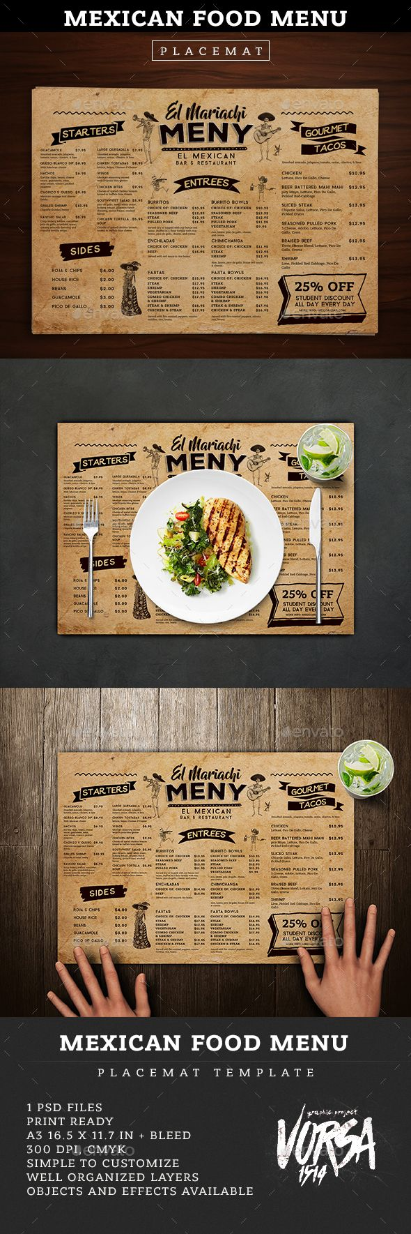 Mexican Food Menu Placemat template — Photoshop PSD #mexican #vintage • Download ➝ https://graphicriver.net/item/mexican-food-menu-placemat-template/18878470?ref=pxcr