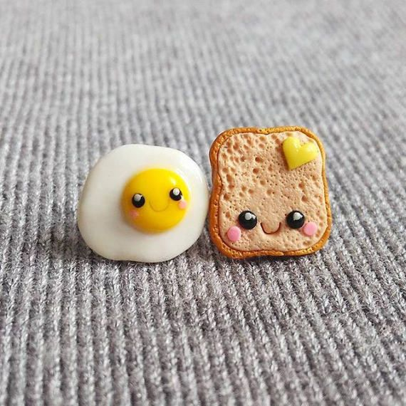Miniature Food Earrings, Mini Food Jewelry, Earrings For Kids Jewelry For Kids, Polymer Clay Earrings, Toast and Egg Earrings Emoji Earrings