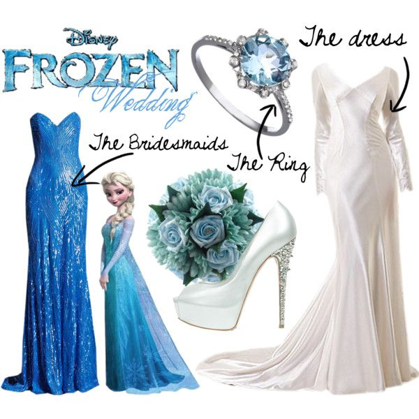 """""""Elsa's from Frozen Wedding"""" by mitomana on Polyvore. The bridesmaids can wear the ring, I think I'd want different flowers, but in that color, the bridesmaids will definitely get that dress. I think I would, wear a different dress though, and maybe heels that weren't so high."""