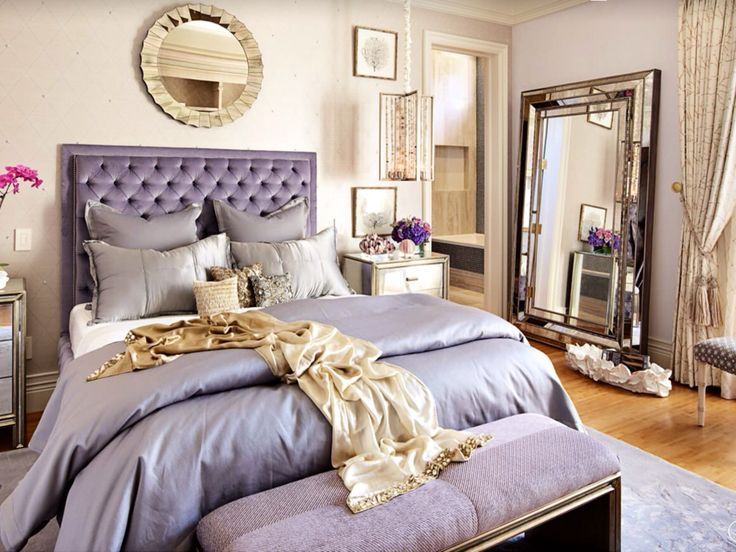 Art Deco Master Bedroom With Large Hollywood Regency Mirror   Framed Floor  Mirror, Tufted Headboard