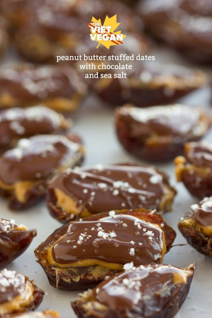 Vegan Peanut Butter Stuffed Dates with Chocolate and Sea Salt | The Viet Vegan | 5 ingredients + 30 minutes = incredible treats everyone will love =)