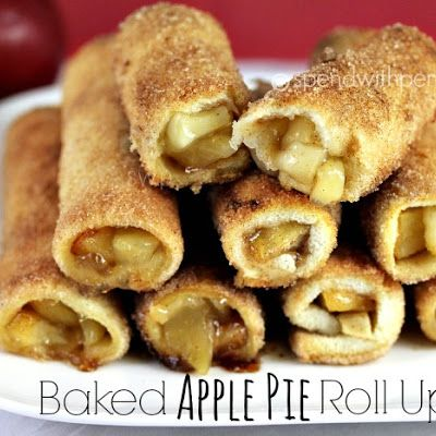 Baked Apple Pie Roll Ups. 10 slices white bread, 1 can apple pie filling, 1/3 C melted butter, 1/2 C sugar, and 1 tsp cinnamon. Heat oven to 350. Cut crusts off bread and roll flat with a rolling pin. Combine cinnamon and sugar on a small plate. Pour pie filling onto a plate and chop into smaller pieces. Put 2 T filling on each slice and roll up. Dip each piece into melted butter and roll in cinnamon sugar. Place seam side down on parchment lined pan and bake 15 mins or until browned and…
