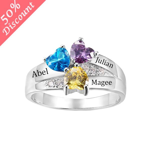 925 Sterling Silver Personalized Family Friendship Engrave Birthstone Women Ring