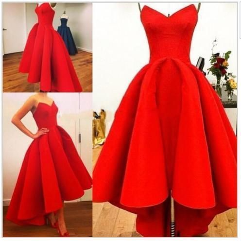 cool Vintage 1950s Hi Lo Red Party Prom Dresses Formal Wedding Bridesmaid Gown Stock
