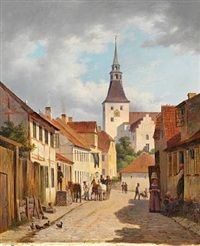 Kattesundet with the Church of Our lady in Svendborg, Andreas Thomas Juuel